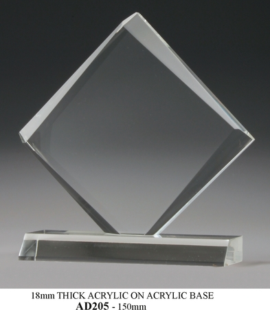 AD205 Acrylic diamond shape on acrylic base $40.00
