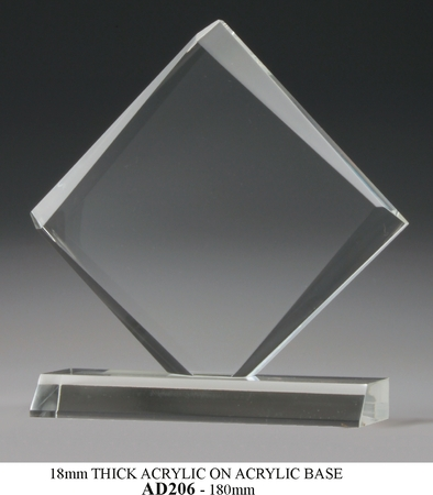 AD206 18MM acrylic diamond shape on acrylic base 180mm high  $48.00