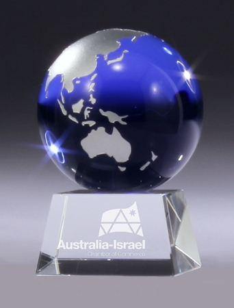 BG113 crystal block with blue crystal globe in presentation case $98.00