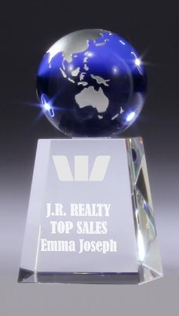BG122 crystal block with blue crystal globe in presentation case $115.00