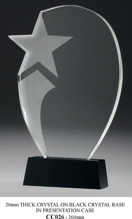 CC026 20mm thick crystal with frosted star on black crystal base (260mm high) $185.00