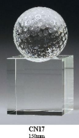 CN17 crystal base with crystal golf ball (total height 150mm)  $145.00