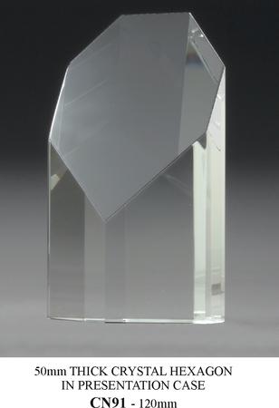 CN91 50mm thick crystal hexagon 120mm high  $68.00