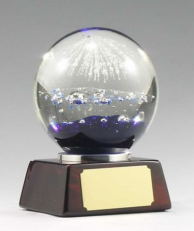 GW902 Glass art blue dome on timber base with chrome trim. $135.00