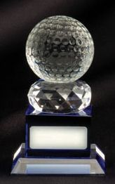 OJO6A Clear and blue crystal golf award (130mm high) in presentation case   $88.00