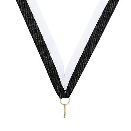 RY75 black white ribbon for medals $0.50