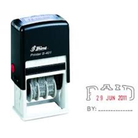Shiny 401 self inking dater with 'Paid By' $35.00