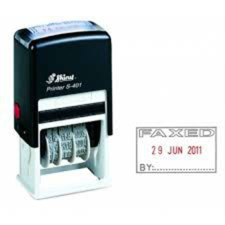 Shiny 403 self inking dater with 'Faxed By' $35.00