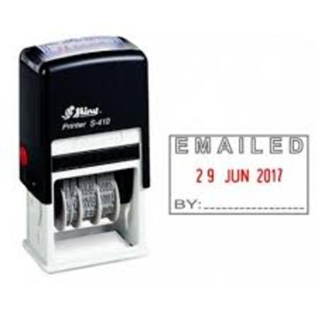 Shiny 410 self inking dater with 'Emailed by' $35.00