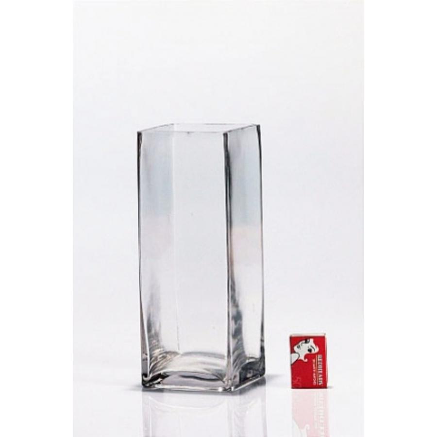 Tall Glass Cube Vase 10x10x25cm
