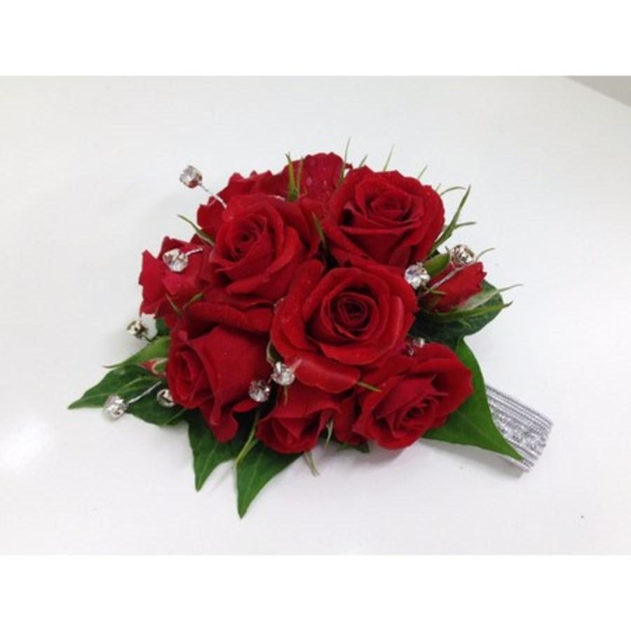 Red Spray Rose Diamante Wrist Corsage