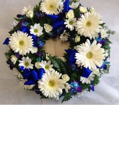Round White and Blue Wreath