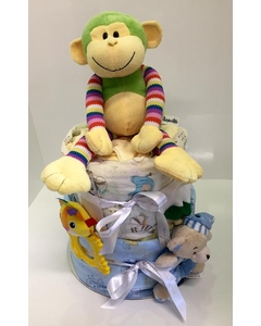 Blue Two Tier Nappy Cake