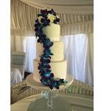 Blue galaxy cake flowers