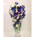 Blue Galaxy, white orchids and white rose teardrop
