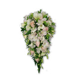 Soft pink & white teardrop of roses, orchids & freesias