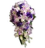 Blush pink orchid, purple lisianthus & white rose teardrop