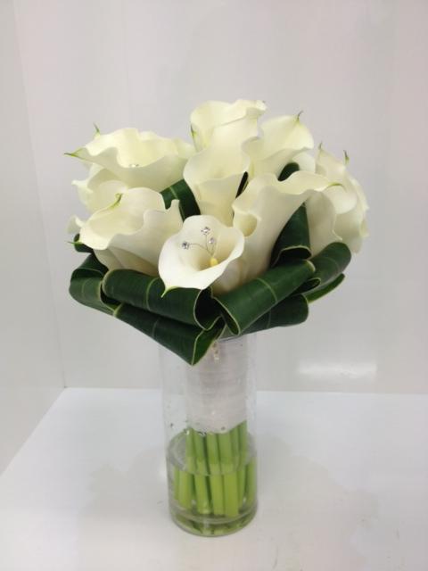White Calla Lily Posy with Diamantes