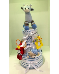 Blue Three Tier Nappy Cake