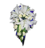 Iris, oriental, rose teardrop in blues & whites with bling