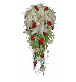 Lilly, rose, orchid teardrop in reds & whites with dodda vine