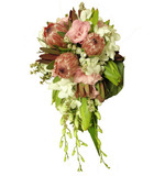 Native bouquet with pink lisianthus and white orchids