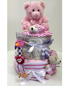 Pink Two Tier Nappy Cake