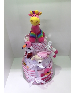 Pink Three Tier Nappy Cake