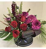 Pink and Purple Hat Box Arrangement