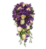 Purple dendrobium orchid and cream rose teardrop