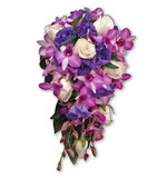 Purple lisianthus, orchid & cream rose teardrop