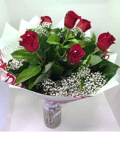 A Red Rose 6 Diamante Bouquet