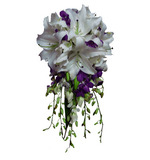 White & purple teardrop of orientals, dendrobiums, roses & bling