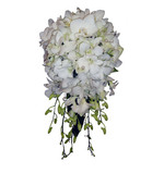 White phalaenopsis & dendrobium orchid teardrop with pearls