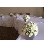 White Spray Rose Dome Bridal Table Decorations