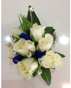 White Spray Rose Wrist Corsage with Blue Ribbon with Diamantes