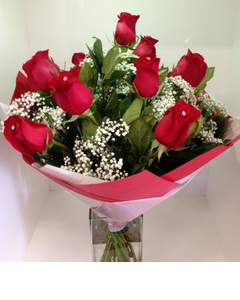 A Red Dozen Rose Bouquet with Diamantes