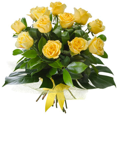 Dozen yellow rose bouquet $105.00