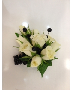 White Spray Rose Wrist Corsage with Black Pearls