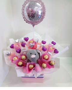 Pastel Baby Girl Elephant Chocolate Bouquet