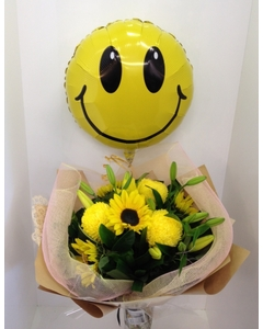 Yellow Bouquet with Smiley Balloon