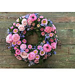 Round Wreath Pink and Blue