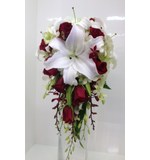 Red and white teardrop of orientals, roses and orchids