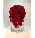 Red rose teardrop with draping crystals