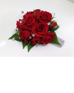 Red Spray Rose Diamante Wrist Corsage