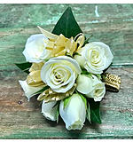 White and Gold Wrist Corsage