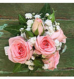 Pink spray rose and gyp wrist corsage
