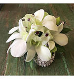 White Orchid Ruby Bling wrist corsage