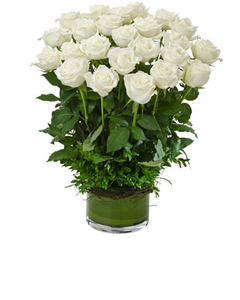 Two Dozen White Roses in a Vase
