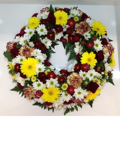 Round Wreath in Reds, Yellows and Whites